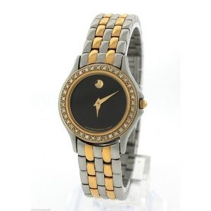 Movado Museum Two Tone 85-E4-9812 Diamond Watch